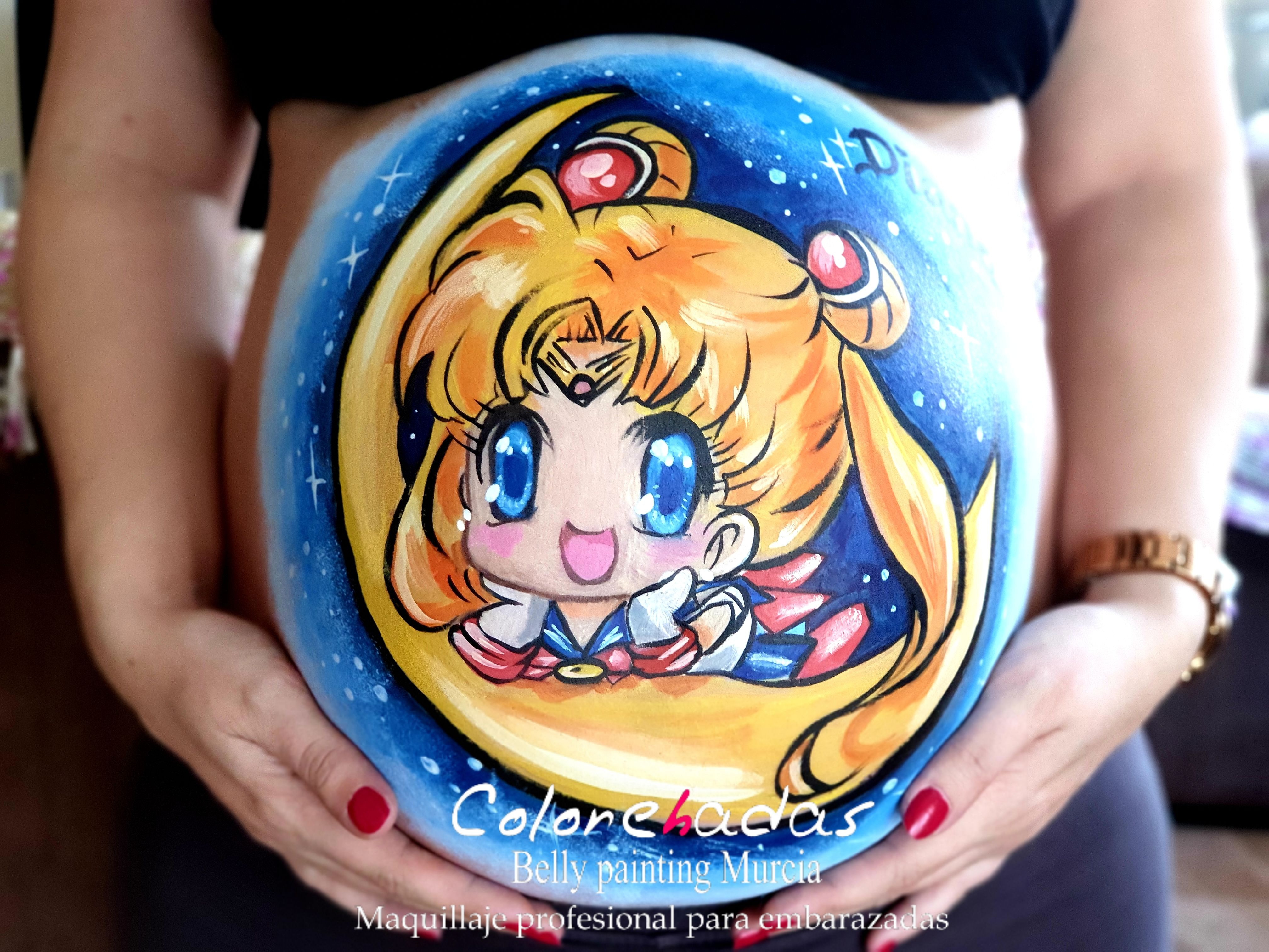 Belly painting Sailor Moon 1