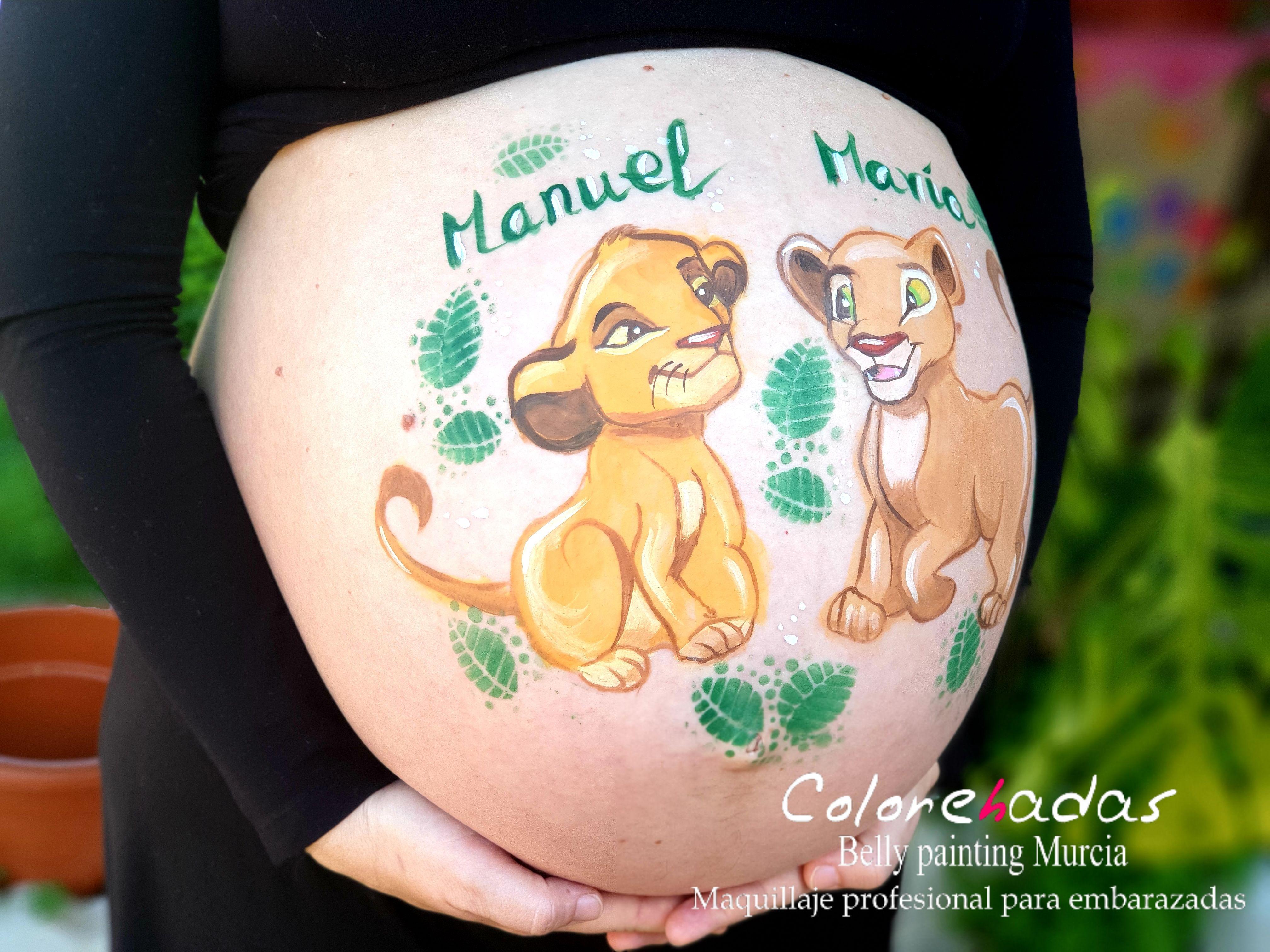Belly painting Simba y Nala 2